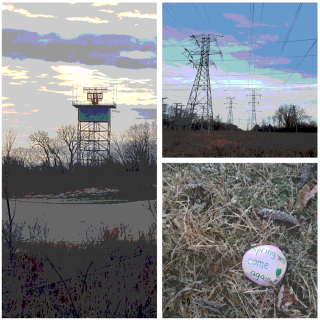 """A collage of three images. One shows high strung power lines over a frozen marsh. The other shows a rock that was painted pink with the words """"Spring Will Come Again"""" and the third shows a radar tower."""