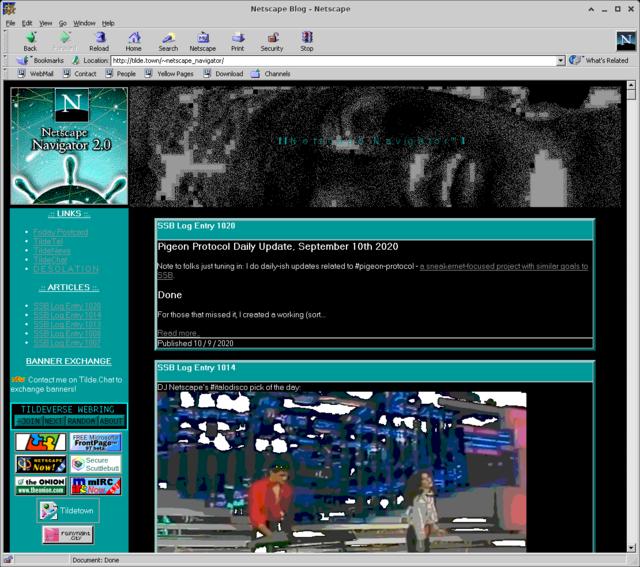 The blog of Netscape Navigator. Rendered in Netscape Navigator.