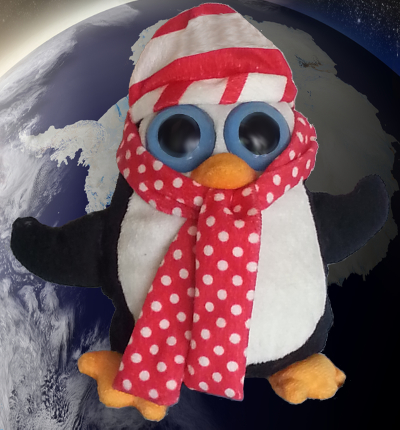 A Scarfed Stuffed Happy (Toy) Penguin Orbits Antarctica